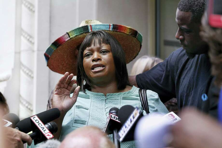 Terina Allen, sister of Samuel DuBose, speaks to the media after Hamilton County Prosecutor Joseph Deters announced during a news conference his decision to not pursue a third trial of former University of Cincinnati police officer Ray Tensing for murder in the death of DuBose, Tuesday, July 18, 2017, in Cincinnati. Photo: AP Photo/John Minchillo   / AP
