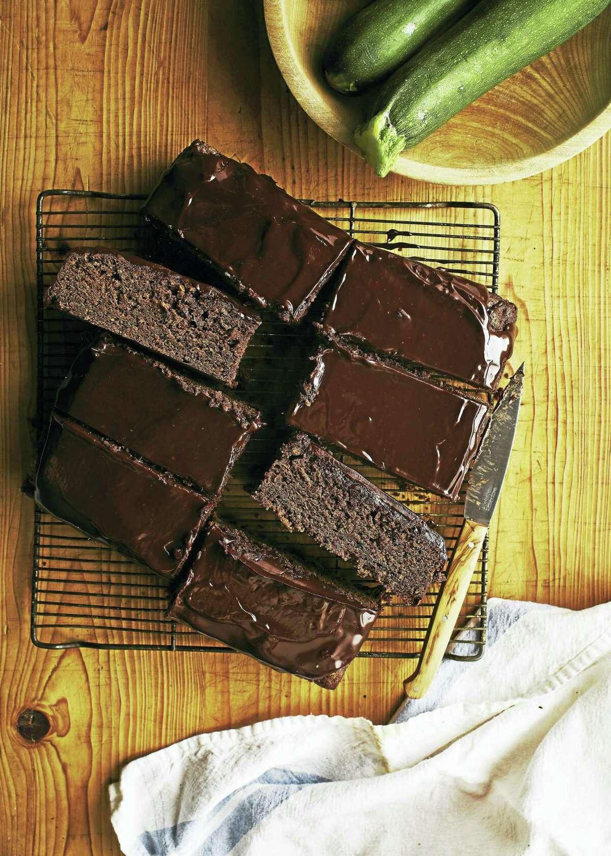 Chocolate sour cream zucchini cake with chocolate glaze.