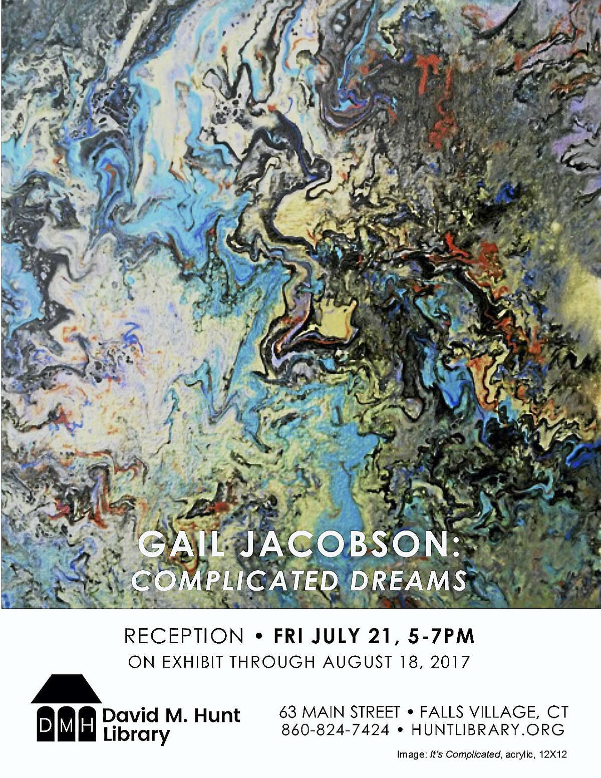 Paintings by Gail Jacobson will be featured at the Hunt Library in Falls Village.
