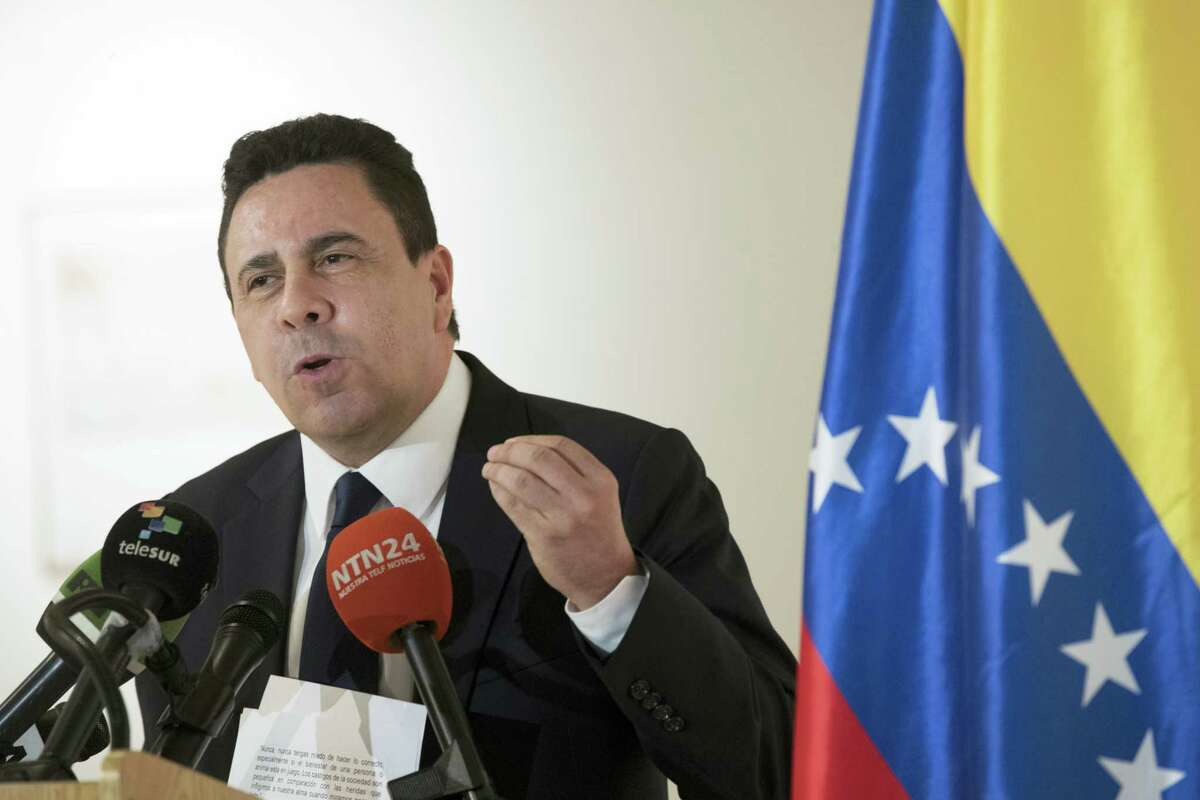 FILE - in this April 28, 2017 file photo, Samuel Moncada, then Venezuela's deputy minister of foreign affairs for North America, speaks during a news conference at the Venezuelan consulate in New York. Moncada, who was recently named Venezuela's foreign minister, said on state television Tuesday, July 18, 2017, that the election of members of a constitutional assembly will take place as planned on July 30, and said President Nicolas Maduro has asked him to reconsider the country's diplomatic relations with the U.S.