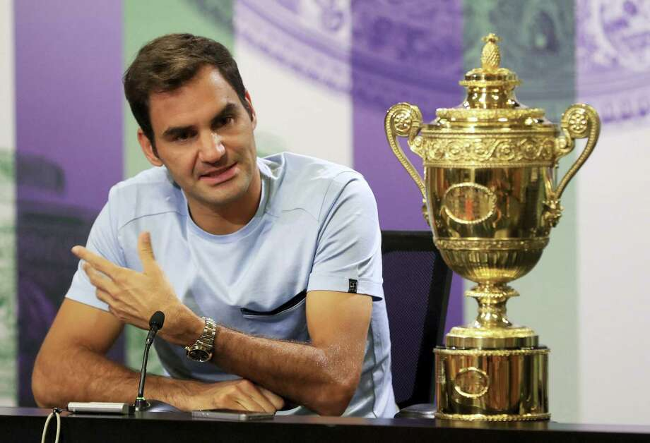 Roger Federer speaks during a photo call at Wimbledon on Monday. Photo: The Associated Press  / PA Wire