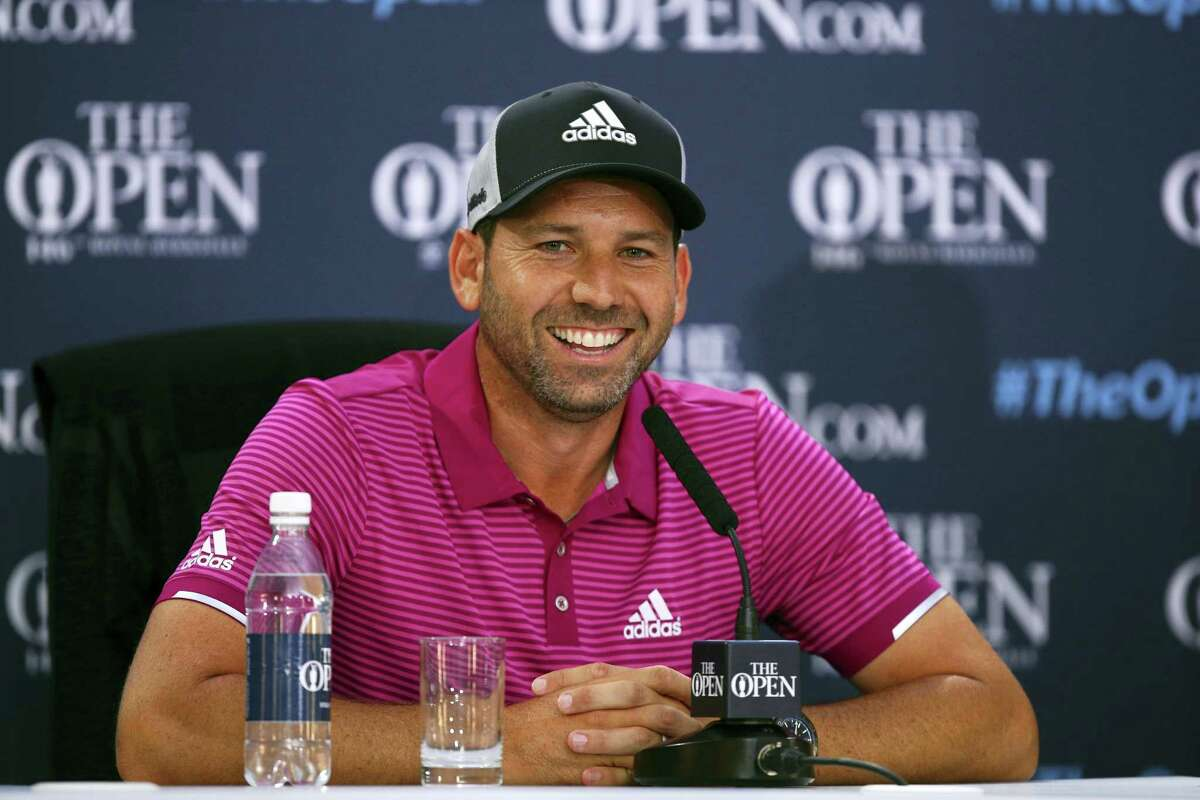 Sergio Garcia talks during a press conference at Royal Birkdale in Southport, England, on Monday.