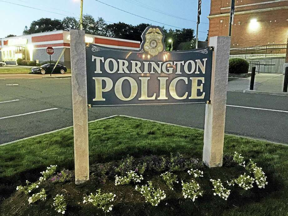 The sign marking the Torrington Police Department. Photo: Ben Lambert — The Register Citizen