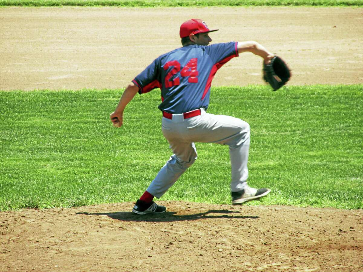 Photo by Peter WallaceCam Goulet got the start for Winsted Post 43 against a tough Waterford team.