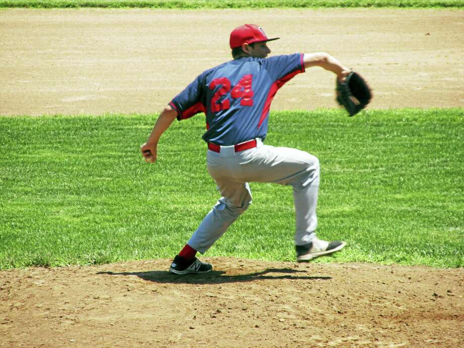Photo by Peter WallaceCam Goulet got the start for Winsted Post 43 against a tough Waterford team. Photo: Digital First Media