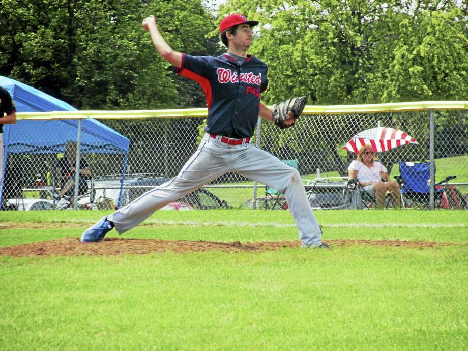Ryan Sholtis gave up just three hits as Winsted Post 43 beat Enfield in an American Legion first-round tournament game on Saturday at Fermi High School. Photo: Photo By Peter Wallace