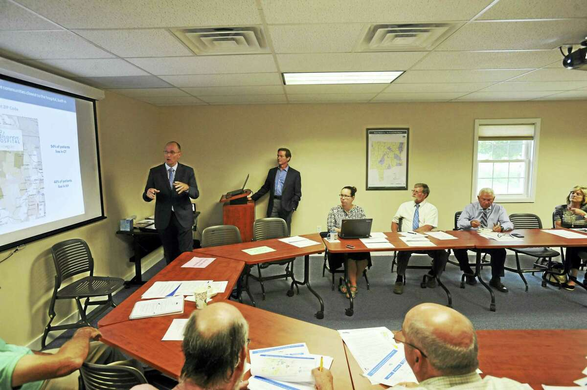 Sharon Hospital CEO Peter Cordeau broke down some of the effects of the hospital's pending affiliation with Health Quest as he spoke with the Northwest Hills Council of Governments in Goshen last week.