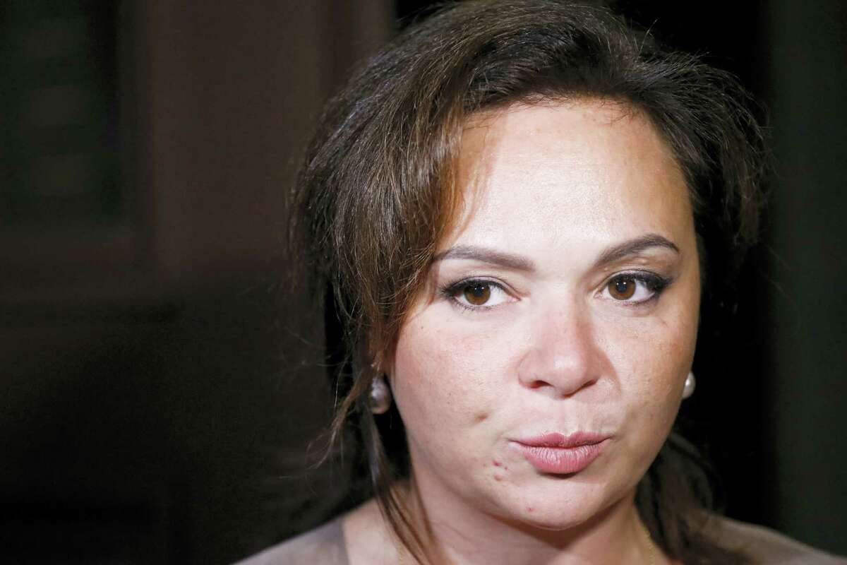 In this file photo taken on Tuesday, July 11, 2017, Russian lawyer Natalia Veselnitskaya speaks to journalists in Moscow, Russia. A billionaire real estate mogul, his pop singer son, a music promoter, a property lawyer and Russia's prosecutor general are unlikely figures who've surfaced in emails released by Donald Trump Jr. as his father's presidential campaign sought potentially damaging information in 2016 from Russia about his opponent, Hillary Clinton.