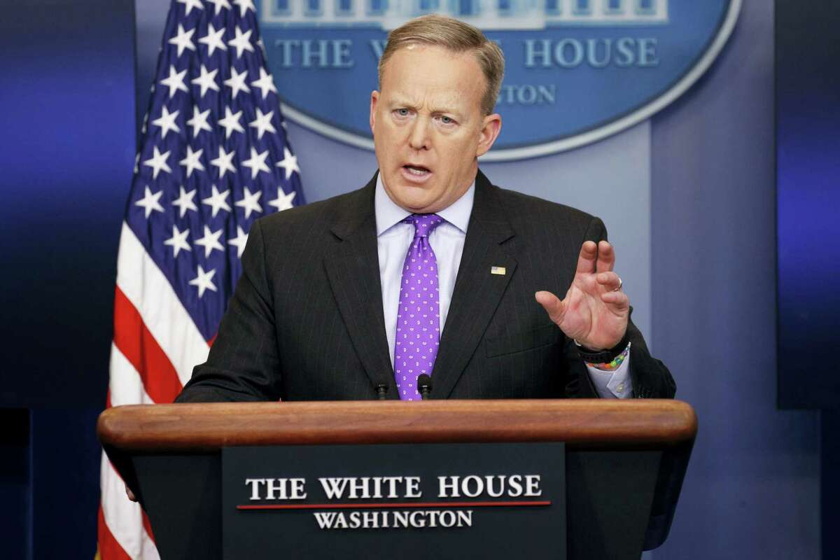 White House press secretary Sean Spicer speaks during the daily press briefing, Wednesday, Feb. 8, 2017, at the White House in Washington.