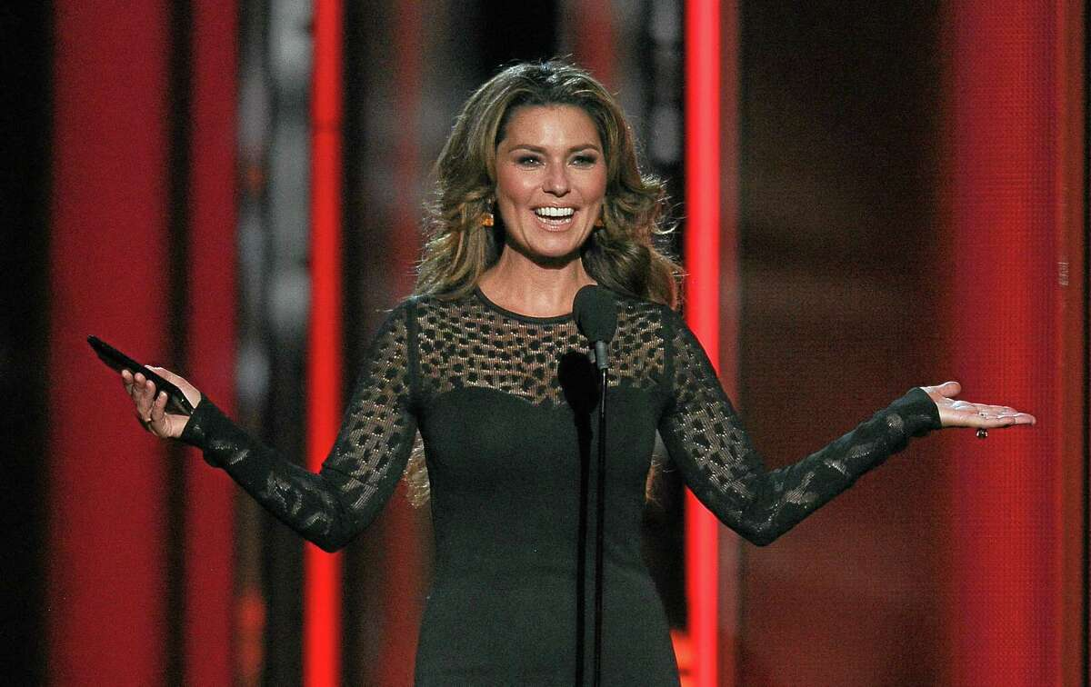 Shania Twain presents the award for top rock album at the Billboard Music Awards at the MGM Grand Garden Arena on May 18, 2014 in Las Vegas.