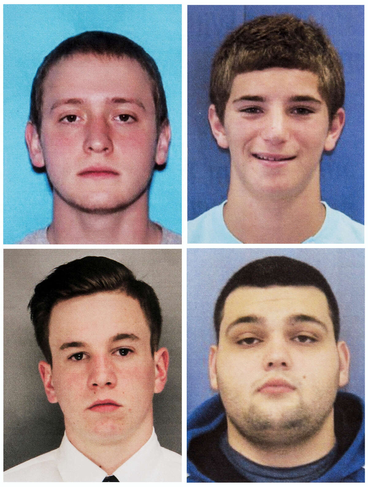 This combination of undated photos provided by the Bucks County District Attorney's Office shows four men who went missing last week: Tom Meo, top left; Jimi Tar Patrick, bottom left; Dean Finocchiaro, top right; and Mark Sturgis, bottom right. Cosmo DiNardo, a 20-year-old linked to a Pennsylvania farm at the center of a search for the four missing men, was arrested Wednesday on charges he tried to sell one man's car after he went missing, authorities said in announcing the first big break in the case.