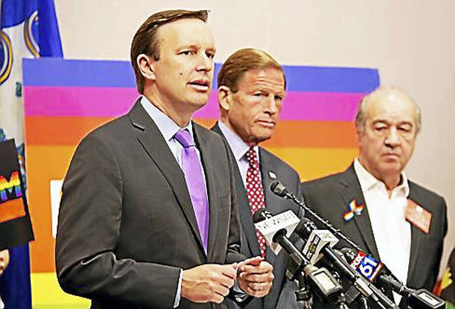 U.S. Sen. Chris Murphy with U.S. Sen. Richard Blumenthal in background Photo: Ctnewsjunkie File Photo