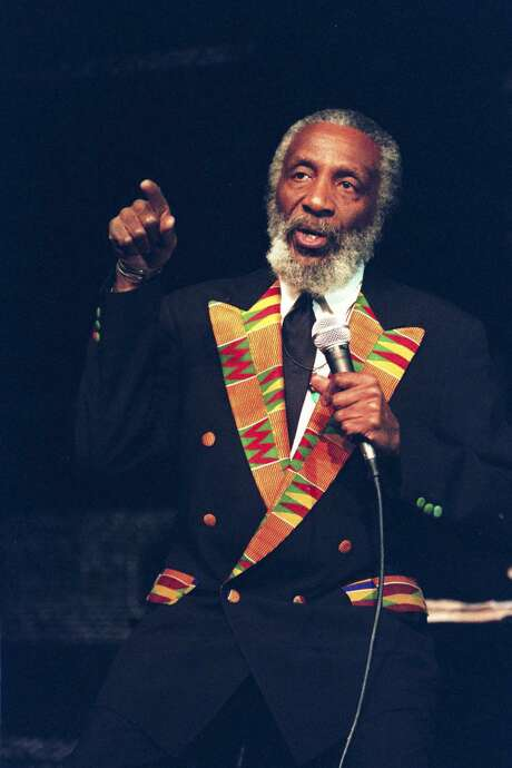 Dick Gregory performing at the Samuel Beckett Theater, New York, Dec. 5, 1995. An appearance at St. Mary's University in 1966 included a monologue with uncomfortable truths that shocked the sensibilities of many San Antonians. Photo: SARA KRULWICH /NYT / NYTNS