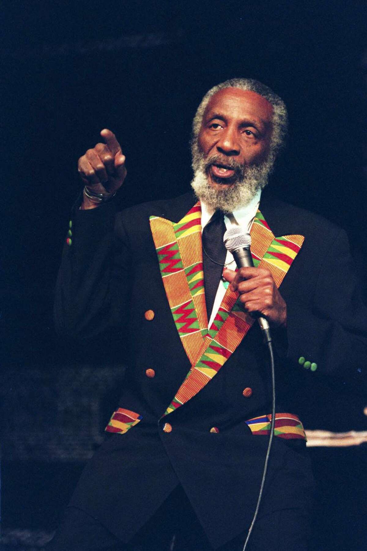 Dick Gregory performing at the Samuel Beckett Theater, New York, Dec. 5, 1995. An appearance at St. Mary's University in 1966 included a monologue with uncomfortable truths that shocked the sensibilities of many San Antonians.