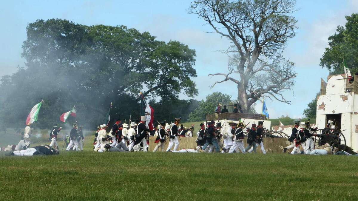 Re-enactors stage an assalt on the Alamo in Staffordshire, England, in June. The occasion commemorated the 300th year of Freemasonry in England. At least four Alamo defenders - Davy Crockett, James Bowie, William Baret Travis and Almaron Dickinson - were Masons, as was Mexican Gen. Santa Anna.