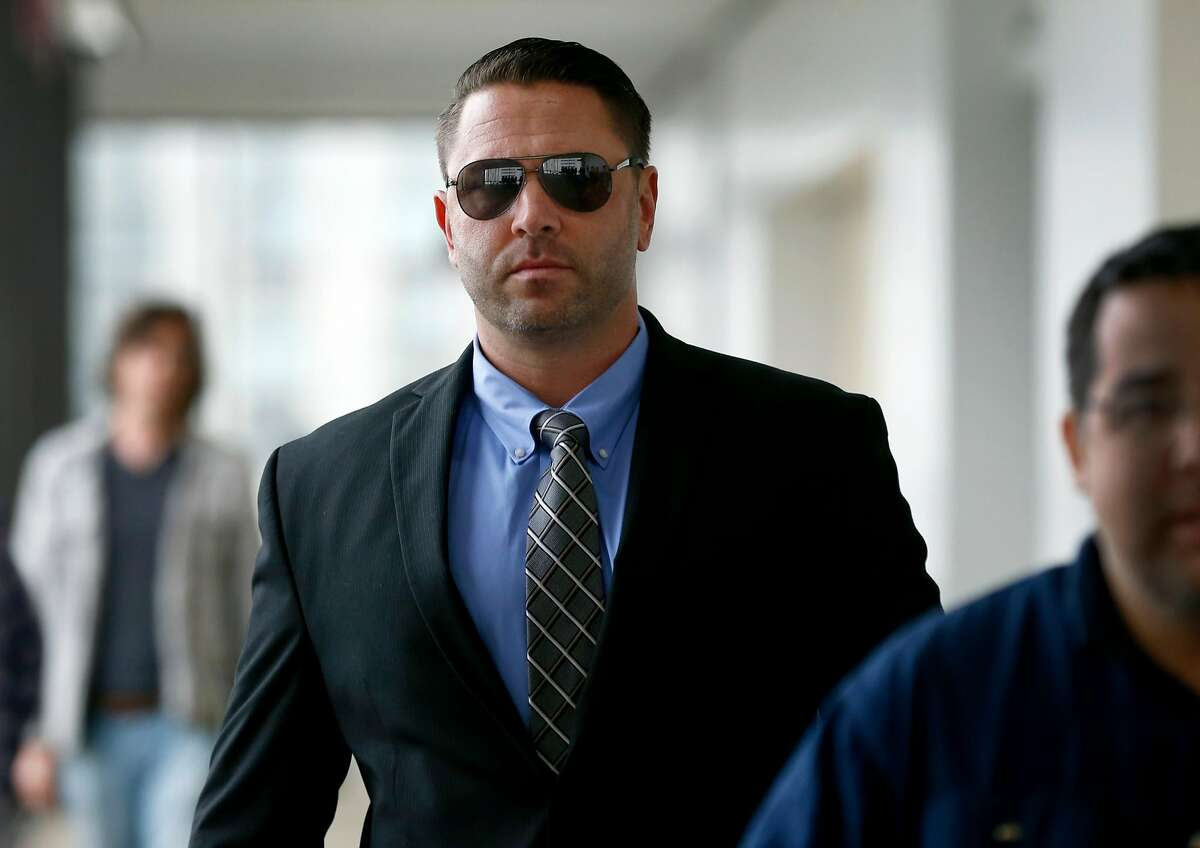 Right-wing activist Kyle Chapman, aka Based Stickman, arrives at Wiley C. Manuel Alameda County Superior Court for his arraignment on a weapons charge in Oakland, Calif. on Friday, Aug. 25, 2017.