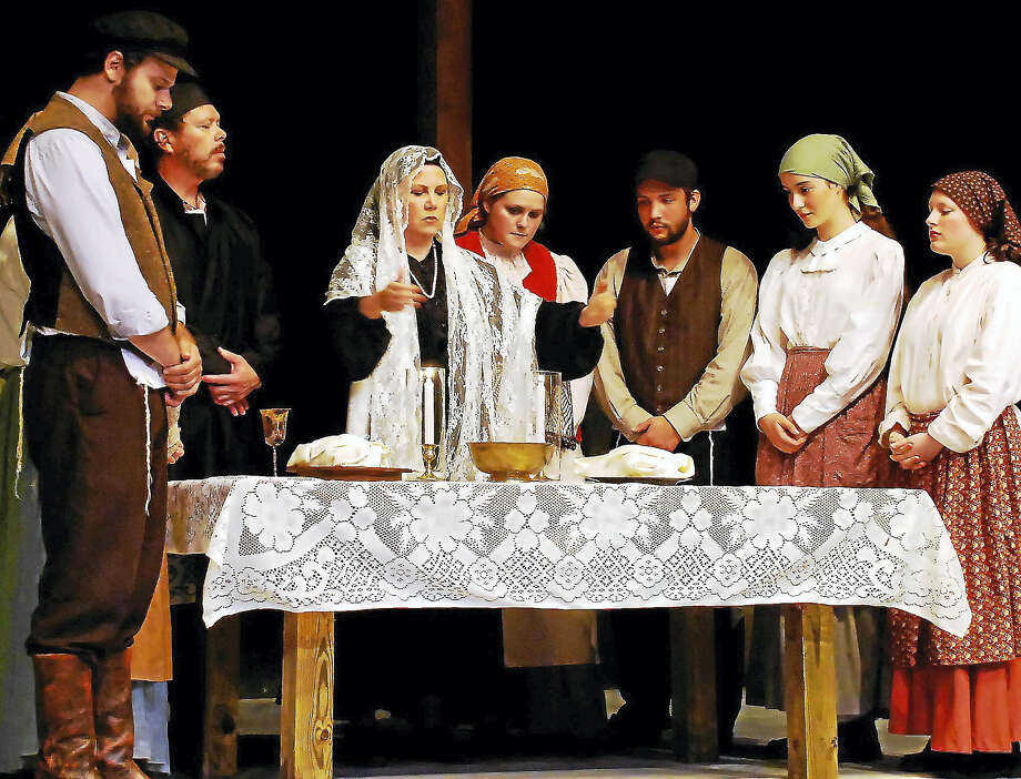 "The family gathers for the Sabbath in a scene from Clay & Wattles Theater Company's production of ""Fiddler on the Roof."" Photo: Photos Courtesy Of Clay & Wattles Theater Company"