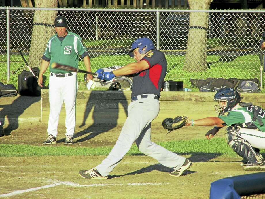 Tony Pacino delivered a walk-off double in the bottom of the seventh to complete Winsted's summer sweep of perennial Zone I power Simsbury on Tuesday at Walker Field. Photo: Photo By Peter Wallace