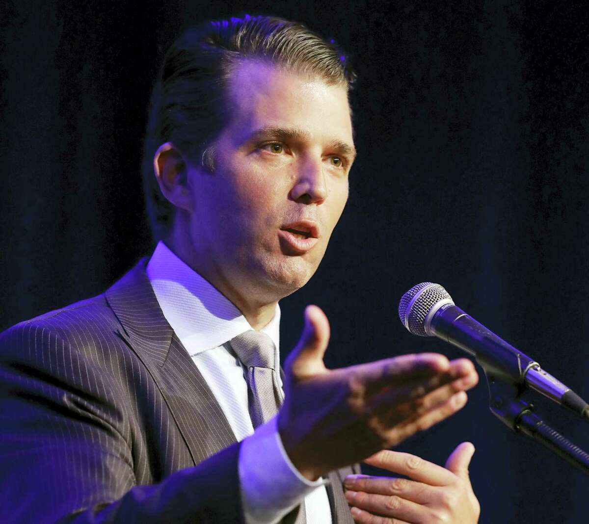 In this file photo, Donald Trump Jr. speaks in Indianapolis. President Donald Trump's eldest son acknowledged Monday that he met a Russian lawyer during the 2016 presidential campaign to hear information about his father's Democratic opponent, Hillary Clinton.