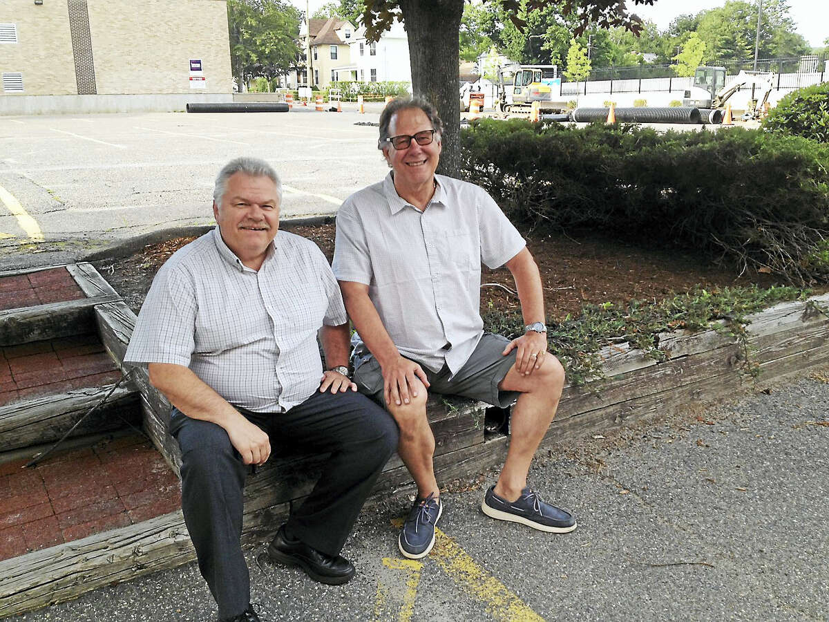 Night Moves members Scott Engle, left, and Jim Fontana, both of Torrington, are celebrating the five-member band's 35th anniversary with their annual concert Friday night at Coe Memorial Park.