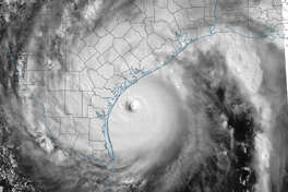 This satellite image from the National Weather Service shows Hurricane Harvey as it approaches the Texas coast, Friday, Aug. 25, 2017. This image was released as part of the National Weather Service's 4 p.m. update on Friday.