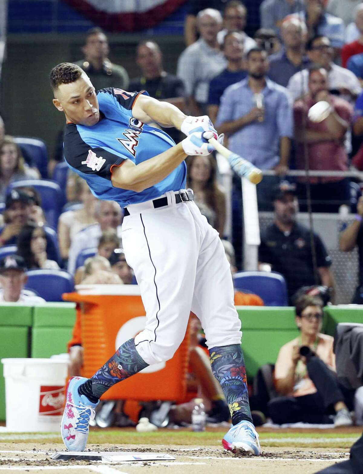 The Yankees' Aaron Judge competes in the Home Run Derby on Monday in Miami.