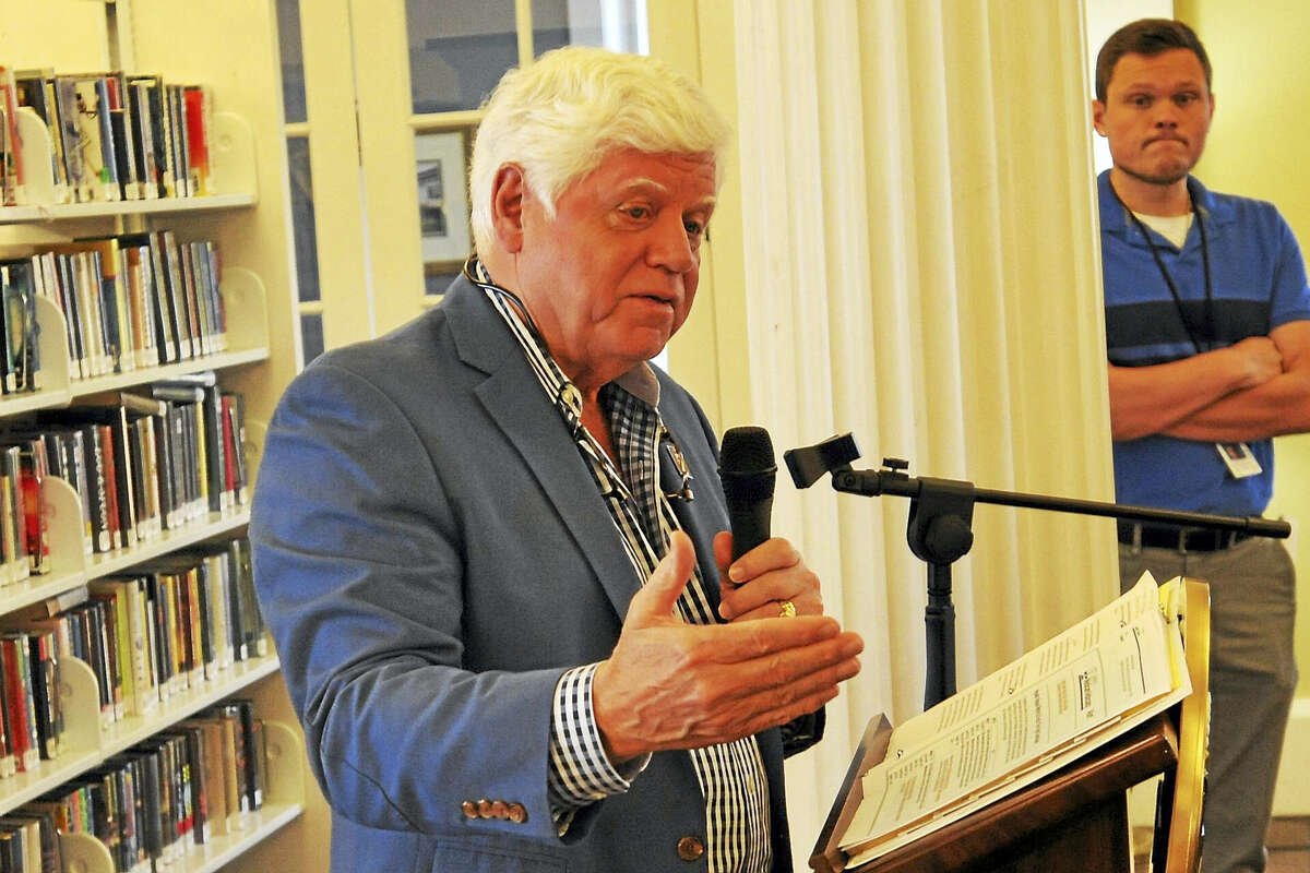 U.S. Rep. John Larson makes a point during a town hall meeting on healthcare at the Beekley Community Library.