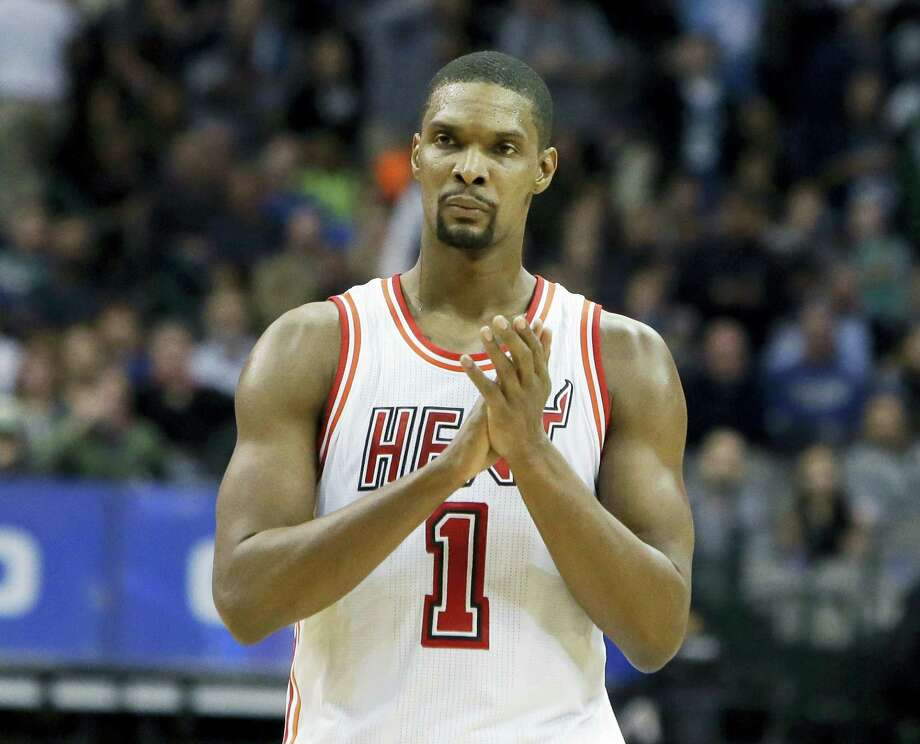 In this Feb. 3, 2016 photo, Miami Heat forward Chris Bosh reacts to a call during the second half of an NBA basketball game against the Dallas Mavericks, in Dallas. Bosh has written an open letter to Miami, thanking the city for supporting him for the past seven years. Bosh published the letter on July 9, 2017, without any mention of his current health status or any plans for his basketball future. He was waived by the Heat last week, and hasn't been able to play in an NBA game since February 2016. Photo: AP Photo — LM Otero, File  / Copyright 2016 The Associated Press. All rights reserved.