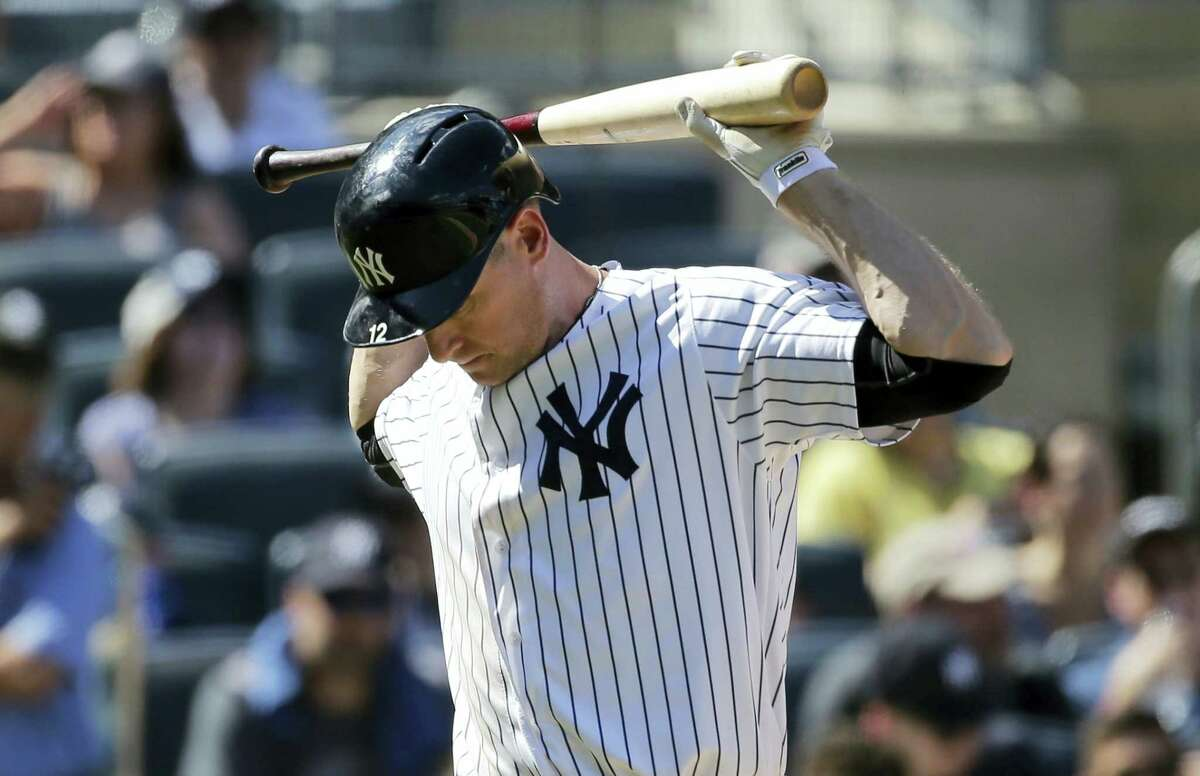 The Yankees' Chase Headley reacts after striking out in the sixth inning Sunday.