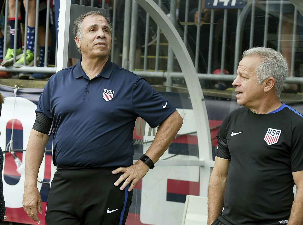U.S. men's soccer coach Bruce Arena, left, and assistant coach Dave Sarachan.