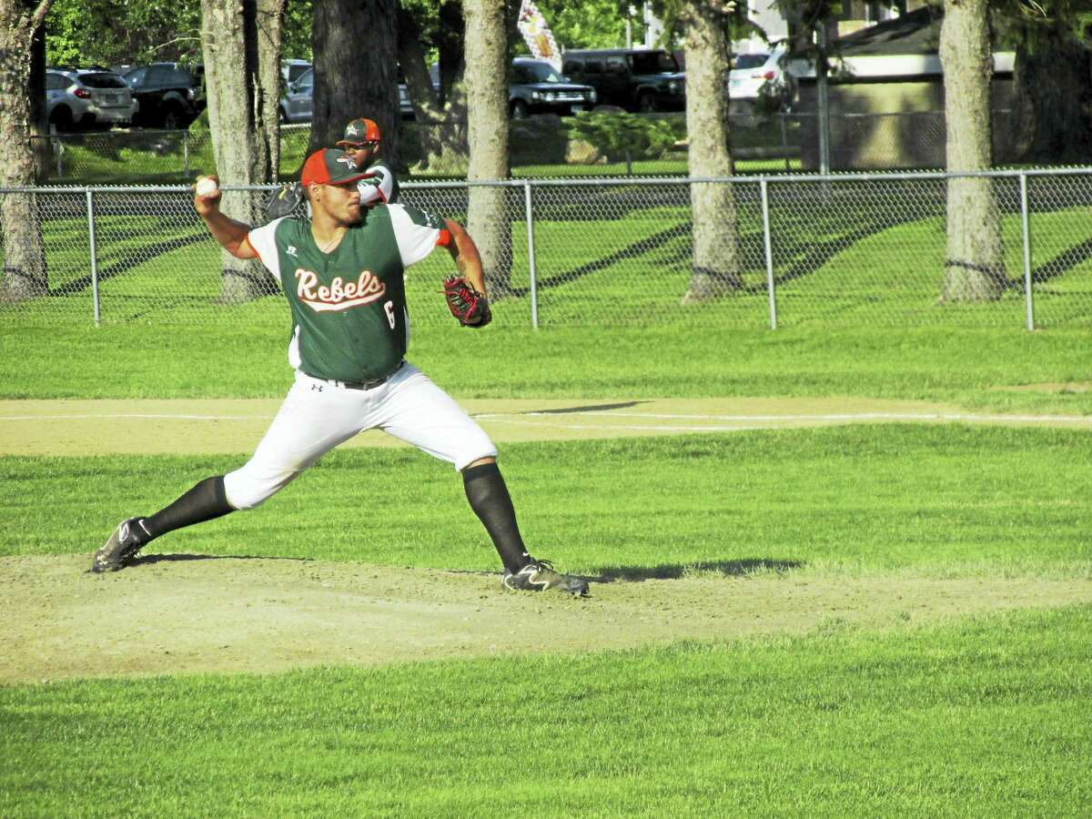 Photo by Peter WallaceTorrington pitcher Chris Greatorex went 10 innings in a Rebel Tri-State League win over Winsted at Walker Field Thursday evening.