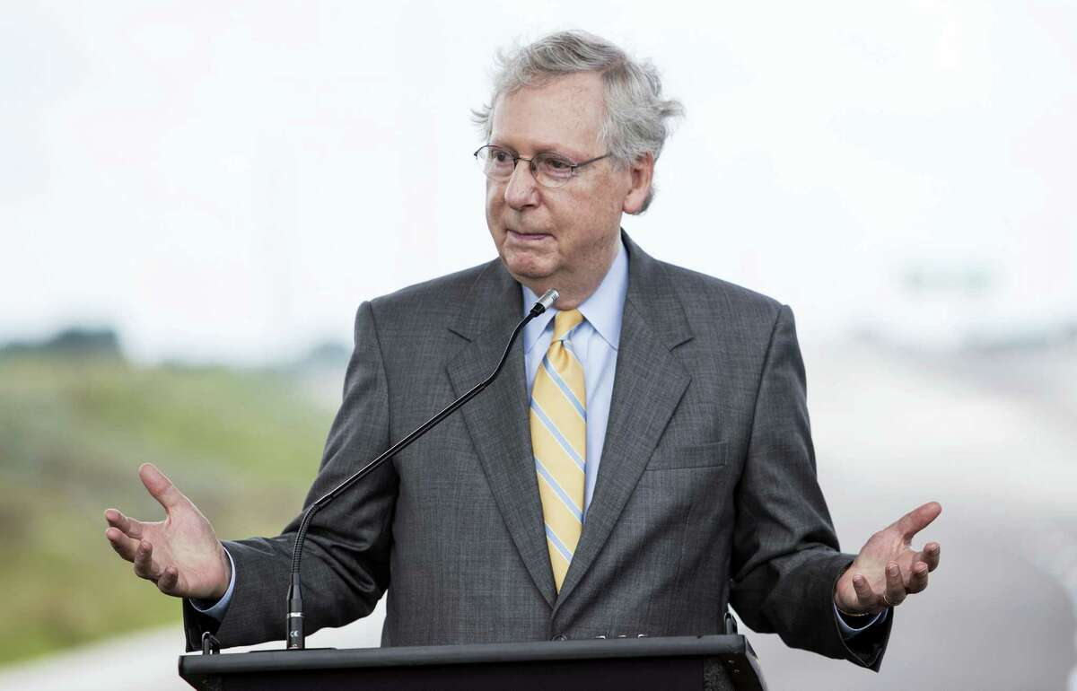 U.S. Sen. Mitch McConnell, R-Ky., speaks during a news conference for the ribbon cutting ceremony for exit 30 on Interstate 65 in Bowling Green, Ky., on Thursday, July 6, 2017.