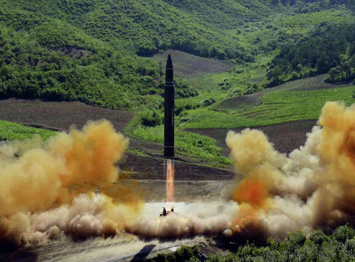 This photo distributed by the North Korean government shows what was said to be the launch of a Hwasong-14 intercontinental ballistic missile, ICBM, in North Korea's northwest, Tuesday, July 4, 2017. Independent journalists were not given access to cover the event depicted in this photo. North Korea claimed to have tested its first intercontinental ballistic missile in a launch Tuesday, a potential game-changing development in its push to militarily challenge Washington but a declaration that conflicts with earlier South Korean and U.S. assessments that it had an intermediate range.
