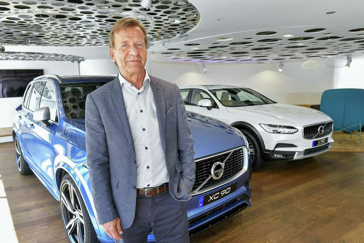Volvo Cars CEO Hakan Samuelsson during an interview with TT News Agency at Volvo Cars Showroom in Stockholm, Sweden, Wednesday, July 5, 2017. Samuelsson said that all Volvo cars will be electric or hybrid within two years. The Chinese-owned automotive group plans to phase out the conventional car engine.