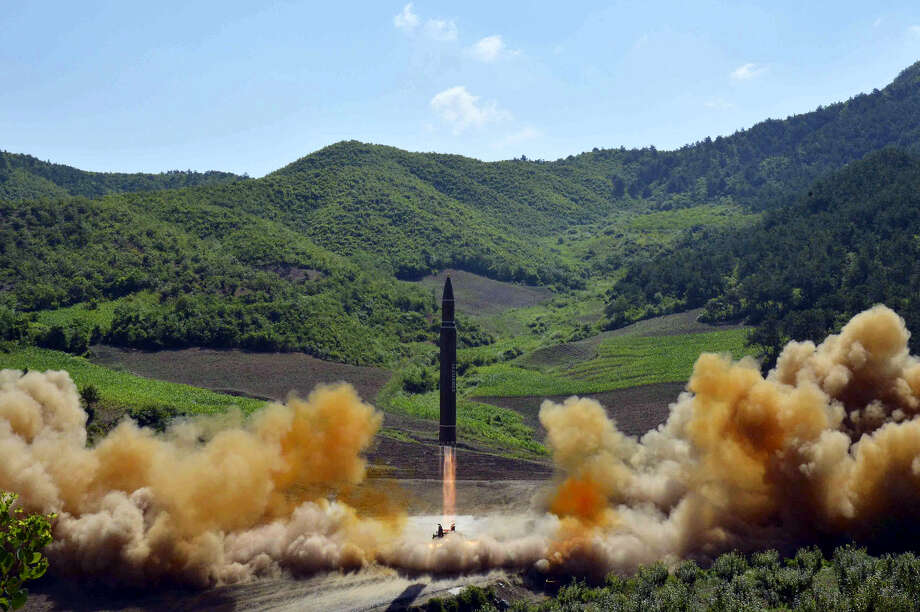 This photo distributed by the North Korean government shows what was said to be the launch of a Hwasong-14 intercontinental ballistic missile, ICBM, in North Korea's northwest, Tuesday, July 4, 2017. Independent journalists were not given access to cover the event depicted in this photo. North Korea claimed to have tested its first intercontinental ballistic missile in a launch Tuesday, a potential game-changing development in its push to militarily challenge Washington. The declaration conflicts with earlier South Korean and U.S. assessments that North Korea had only an intermediate range missile. Photo: Korean Central News Agency/Korea News Service Via AP   / KCNA via KNS