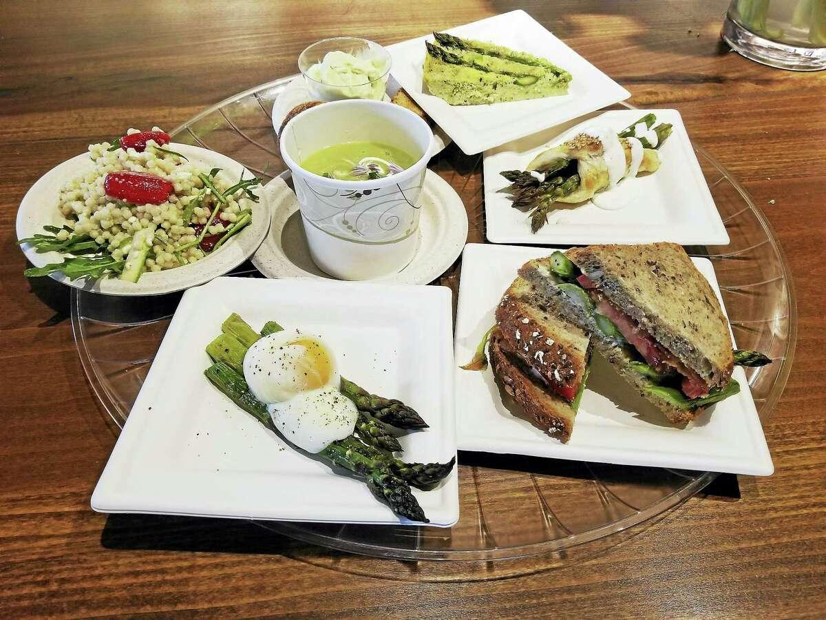 The menu served at the 10th annual White Silo Farm & Winery Asparagus Festival — bacon asparagus tomato sandwich (BAT); roasted asparagus / poached organic egg; asparagus cherry tomato feta couscous salad; asparagus soup; asparagus gelato / biscotti; asparagus frittata.