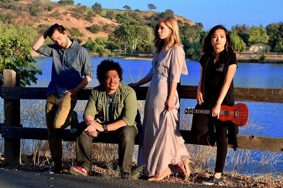 """Being in the country doesn't help�Con (Jacob Marker, left), Dev (Tasi Alabastro), Nina (Sarah Haas) and Mash (Sharon Shao)�discover the truths of life in City Lights Theater Company's """"Stupid F�ing Bird."""""""