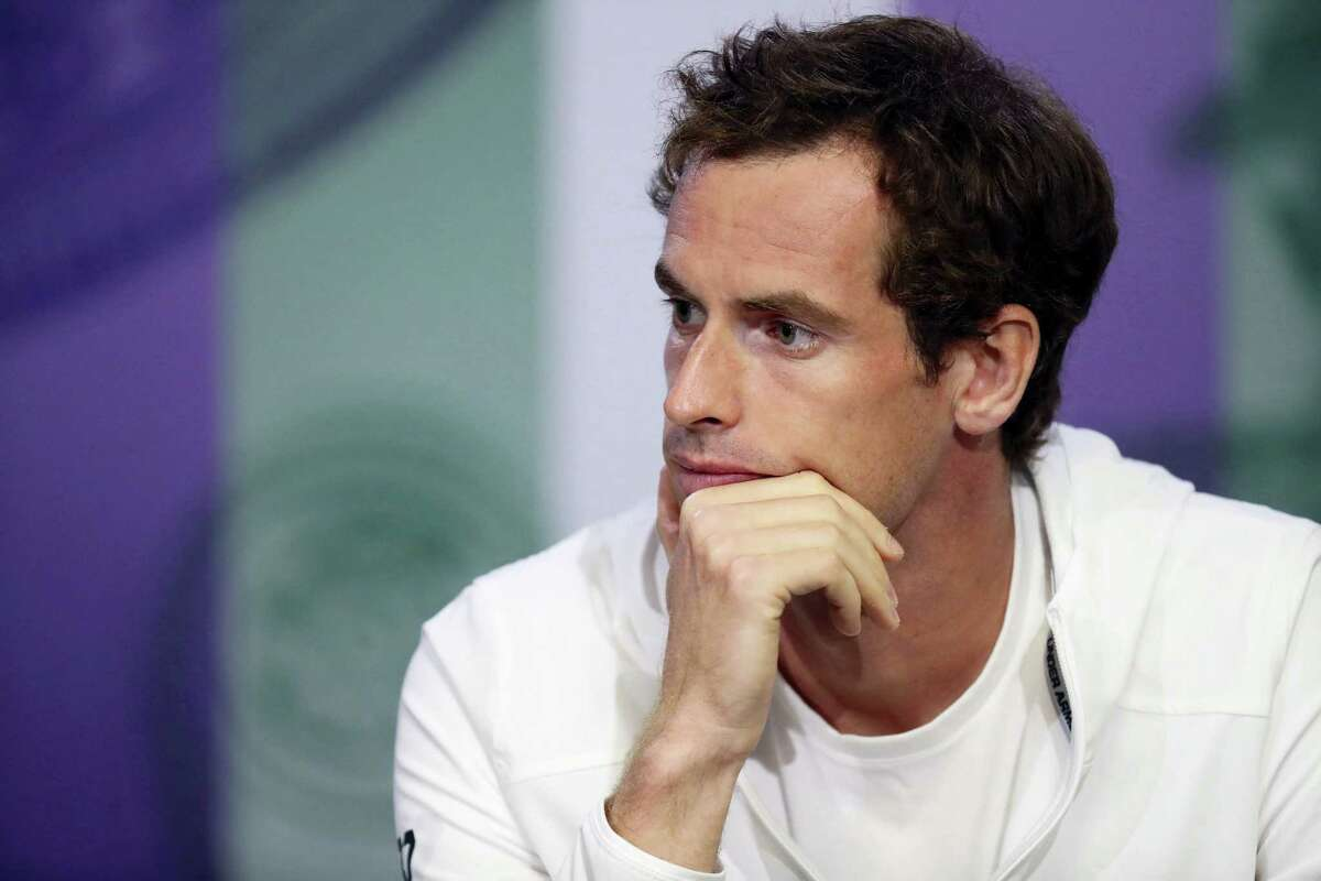 Britain's Andy Murray talks during a press conference at The All England Lawn Tennis Club in London, Sunday.