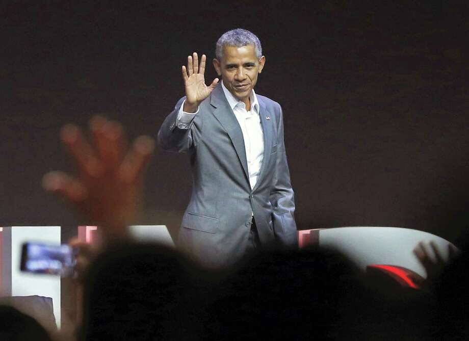 Former U.S. President Barack Obama waves at the audience after delivering his speech during the 4th Congress of the Indonesian Diasporas in Jakarta, Indonesia, Saturday, July 1, 2017. Photo: Achmad Ibrahim / AP Photo  / Copyright 2017 The Associated Press. All rights reserved.