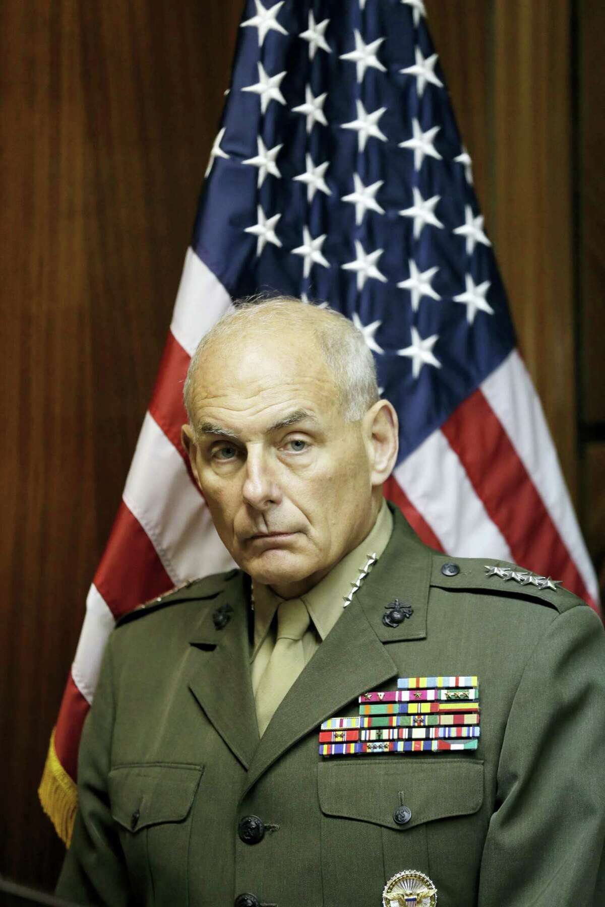 U.S. Marine Gen. John F. Kelly, commander of U.S. Southern Command, attends a press conference at Paraguay's Defense Ministry in Asuncion.