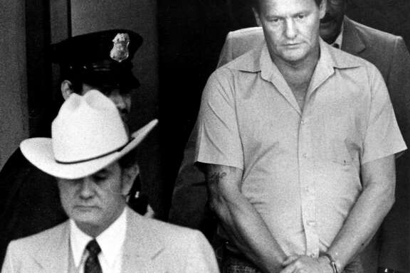 Charles Harrelson under arrest in 1982 for the slaying of federal judge John Wood.