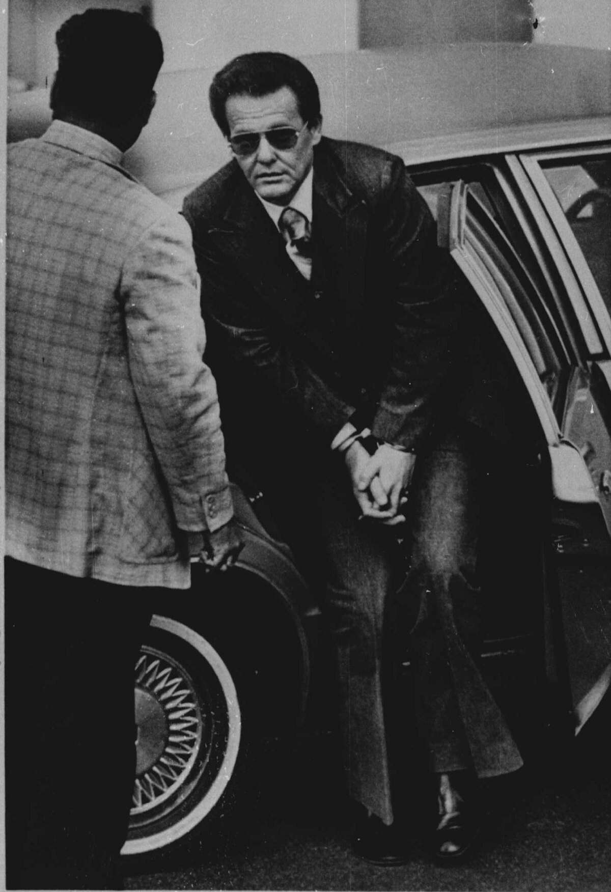 Charles Harrelson, arrives at the U.S. Courthouse in San Antonio, Texas, Tuesday morning, September 28, 1982, to begin the trial for the May 1979 murder of Federal Judge John H. Wood, Jr.( AP PHOTO/ STEVE KRAUSS)