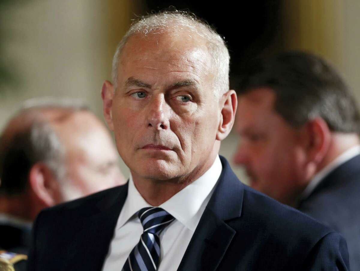 White House Chief of Staff John Kelly appears at event where President Donald Trump was to bestow the Medal of Honor to retired Army medic James McCloughan during a ceremony in the East Room of the White House in Washington on July 31, 2017.