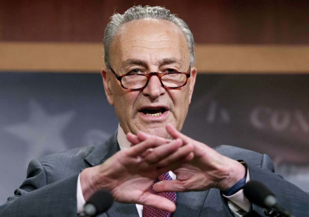 """Senate Minority Leader Chuck Schumer of N.Y., speaks to reporters on Capitol Hill in Washington, Friday, July 28, 2017, after the Republican-controlled Senate was unable to fulfill their political promise to repeal and replace """"Obamacare."""""""
