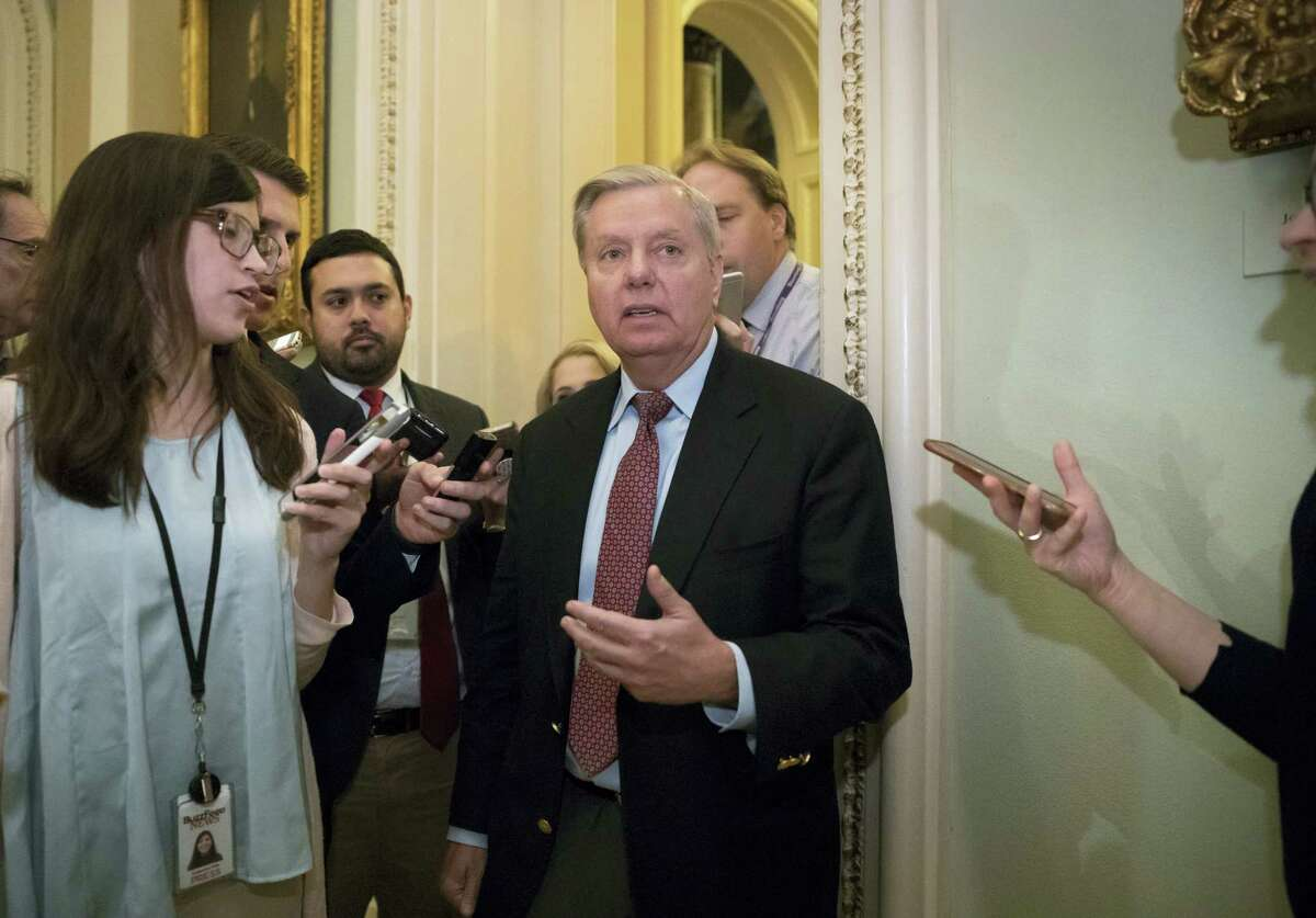 Sen. Lindsey Graham, R-S.C., chairman of the Senate Judiciary Subcommittee on Crime and Terrorism, arrives on Capitol Hill Washington, Tuesday, Aug. 1, 2017, at the Senate as work continues after the Republican health care bill collapsed last week due to opposition within the GOP ranks. The Senate delayed the start of the traditional summer recess until the third week of August to catch up on uncompleted work.