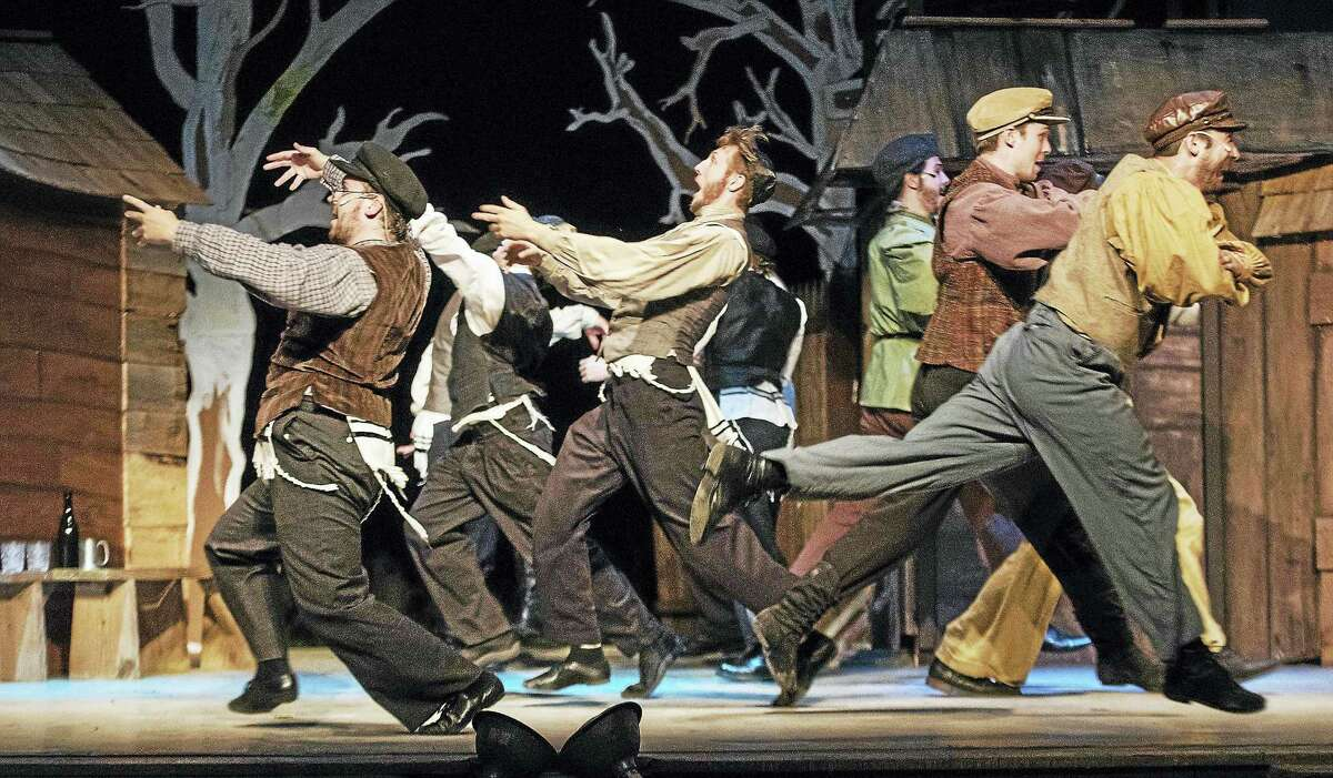 """The song """"L''Chiam"""" with Jeff Tierney, David James Grant, Nathan Valdivieso, Cole Cutrofello, Steve Sorriero and Thomas Camm, in Clay & Wattles Theatre Company's production of """"Fiddler on the Roof"""" running through Aug. 20."""