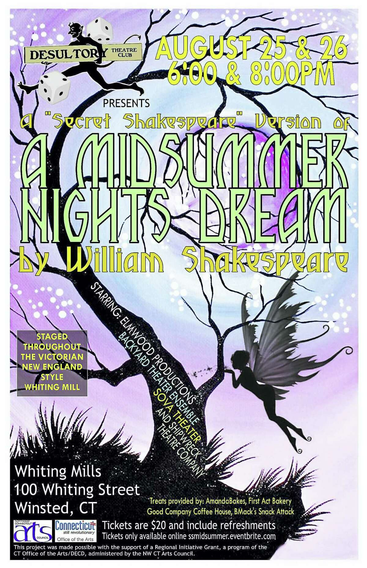 """The Desultory Theatre Club will present a """"Secret Shakespeare"""" production of the romantic comedy, """"A Midsummer Night's Dream"""" on Friday and Saturday, Aug. 25-26 at 6 p.m. and 8 p.m., at Whiting Mills Artist Studios, 100 Whiting Street in Winsted."""