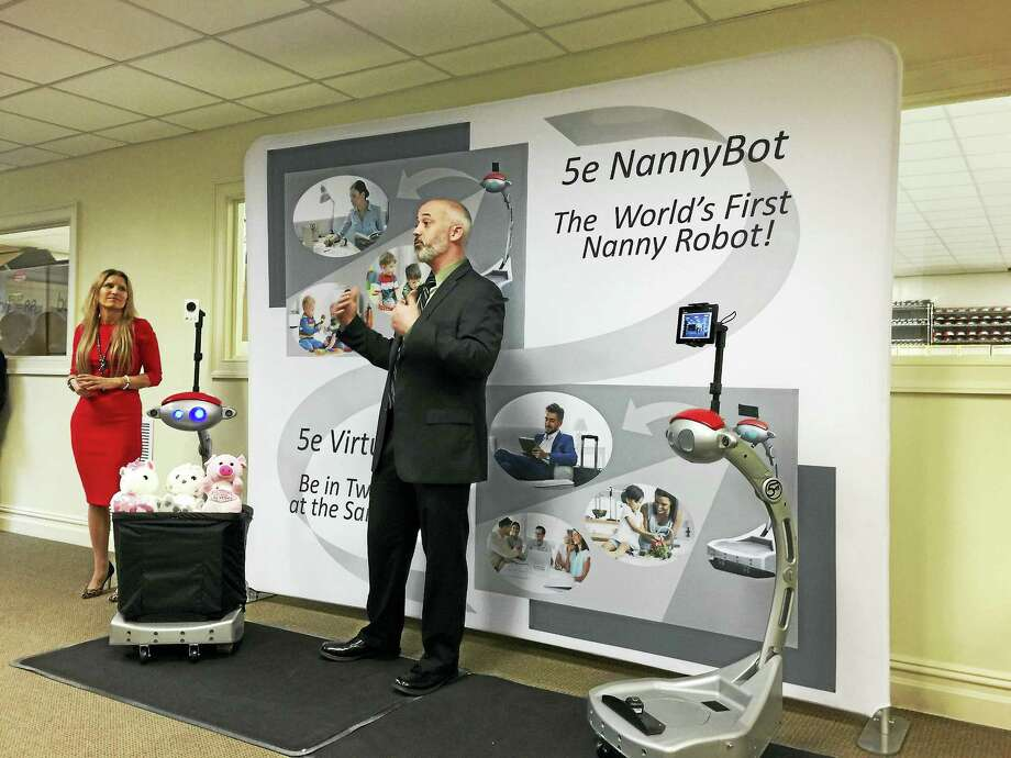 Five Elements Robotics held an open house and demonstrated robots Wednesday morning in Winsted. Photo: Ben Lambert — The Register Citizen