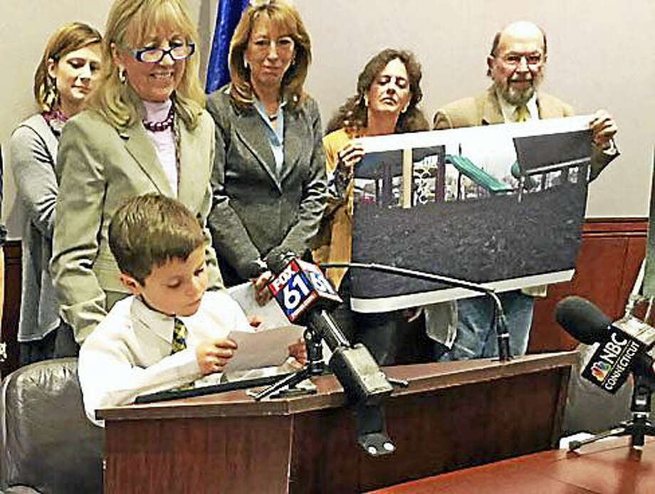 Connor Garrett of Hamden makes a plea to lawmakers to support bill prohibiting crumb rubber on playgrounds. Photo: Jack Kramer — Ctnewsjunkie