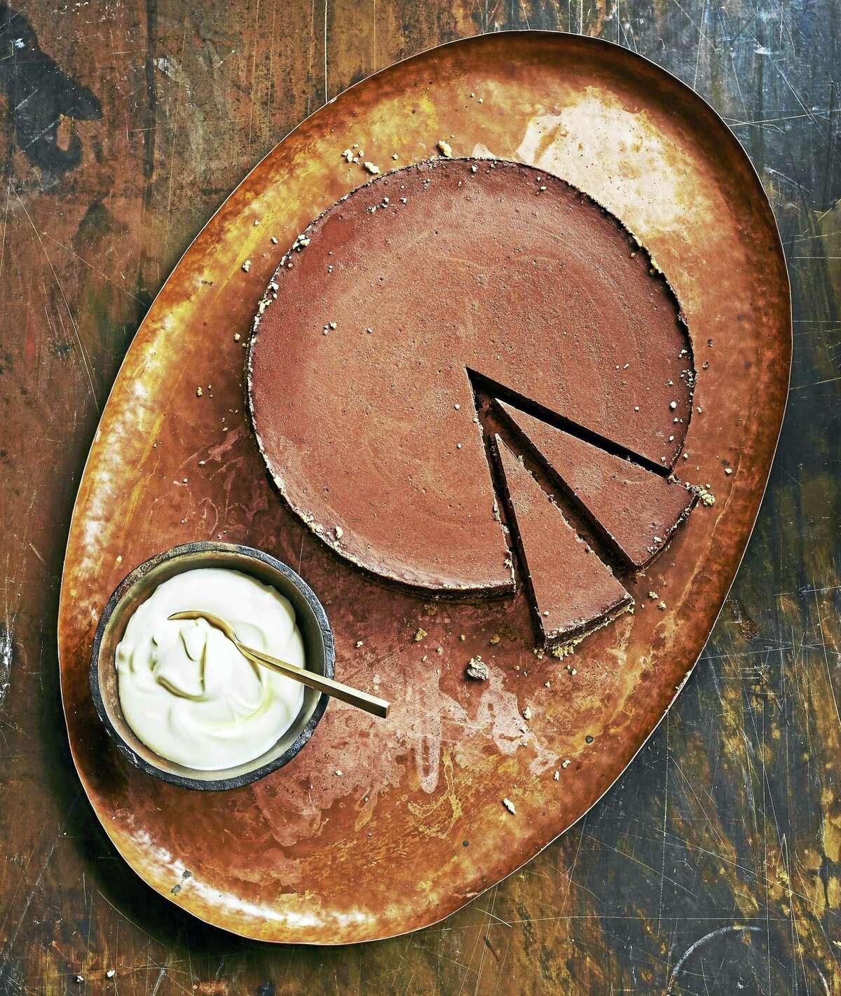 Baked dark chocolate cheesecake